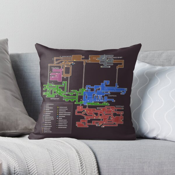 Super Metroid Map Throw Pillow