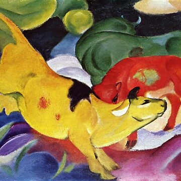Vintage Franz Marc Yellow Red Green Cows 1912 by AllVintageArt