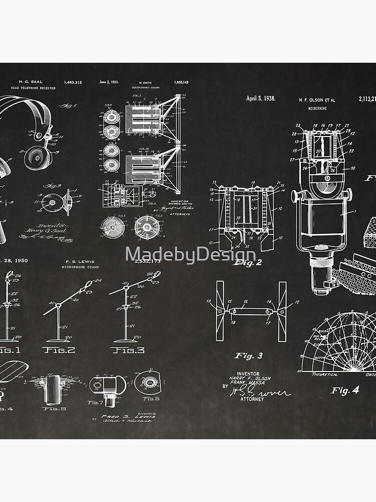 1969 Microphone Design Patent Illustration Canvas Totebag