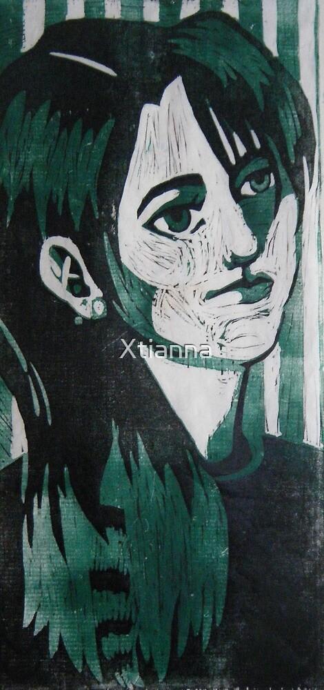 Self Portrait Woodcut by Xtianna