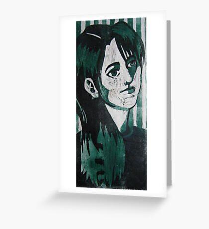 Self Portrait Woodcut Greeting Card