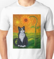 Cat and Sunflower Unisex T-Shirt