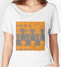 Pineapple Hive-Fruit Delight. Seamless Repeat Pattern illustration.Background in Yellow and Grey. Women's Relaxed Fit T-Shirt