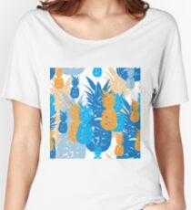 Pineapple Holiday-Fruit Delight. Seamless Repeat Pattern illustration.Background in Blue,Red and Grey Women's Relaxed Fit T-Shirt