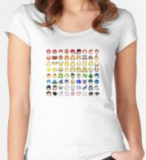 Super Smash Bros Ultimate Character Stock Icons - Rainbow! (Arrangement 4 of 4) Fitted Scoop T-Shirt