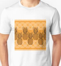Pineapple Lace-Fruit Delight. Seamless Repeat Pattern illustration.Background in Yellow and White. Unisex T-Shirt