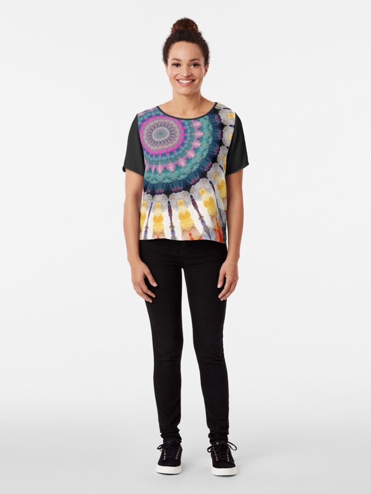 Alternate view of Ornamental Circles With Texture Chiffon Top