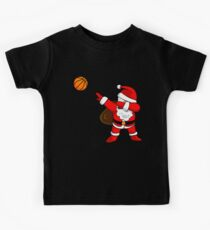 DABBING BASKETBALL SANTA | Christmas Funny Art Dab Ball Kids Tee