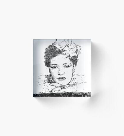 Jazz Singer Billy Holiday pointillism Acrylic Block