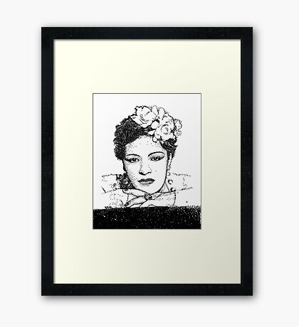 Jazz Singer Billy Holiday pointillism Framed Print