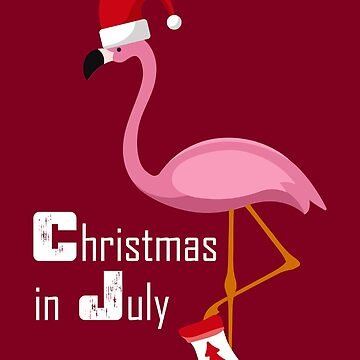 Flamingo Christmas In July | Funny Party X-mas Party Design by melsens