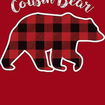 Cousin BEAR | Kids Red Plaid Christmas Pajama Family Gift by melsens