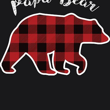PAPA BEAR | Men Red Plaid Christmas Pajama Family Dad Gift by melsens