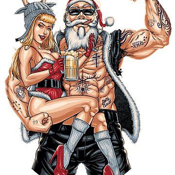 Strong Santa Claus X-Mas Pin Up Muscle by rahmenlos