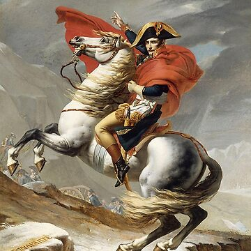Napoleon Crossing the Alps, romantic version by Jacques-Louis David in 1805 by TOMSREDBUBBLE