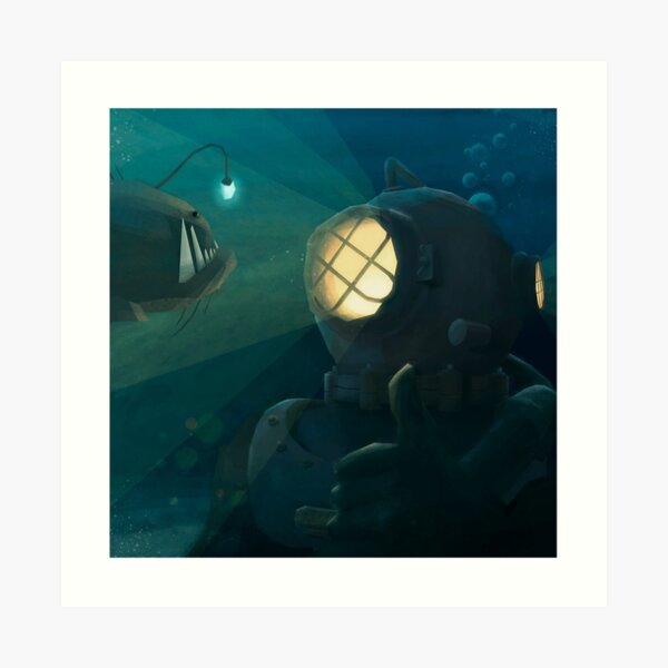 The diver and the fish Art Print