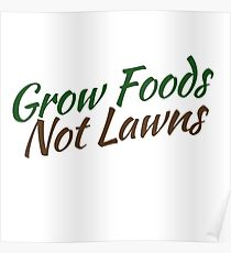 Grow foods not lawns Poster
