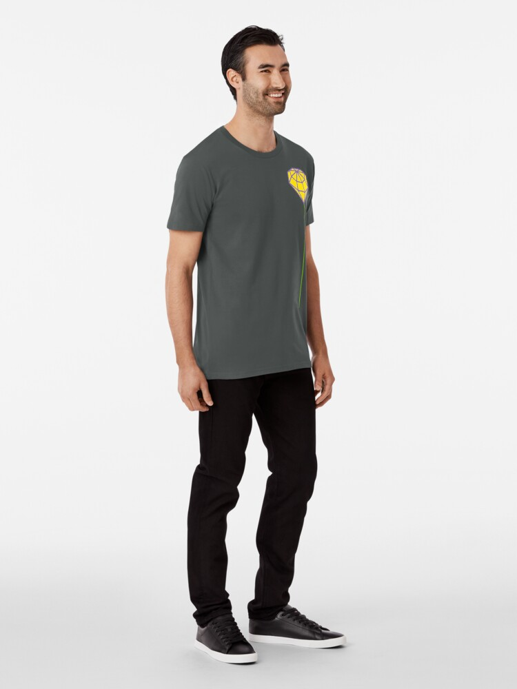 Alternate view of Buttonhole (purple and yellow) Premium T-Shirt