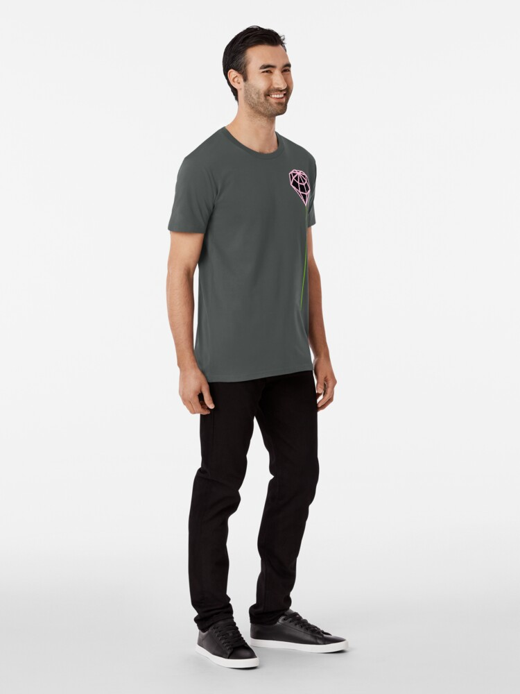 Alternate view of Buttonhole (black and pink) Premium T-Shirt