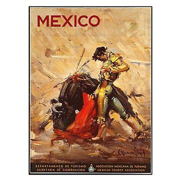 Matador and Bull - Vintage Mexico Travel Poster Design by Chunga