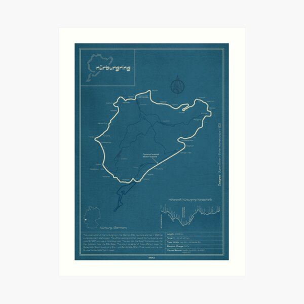 Nurburgring Nordschleife Track Map Art Print