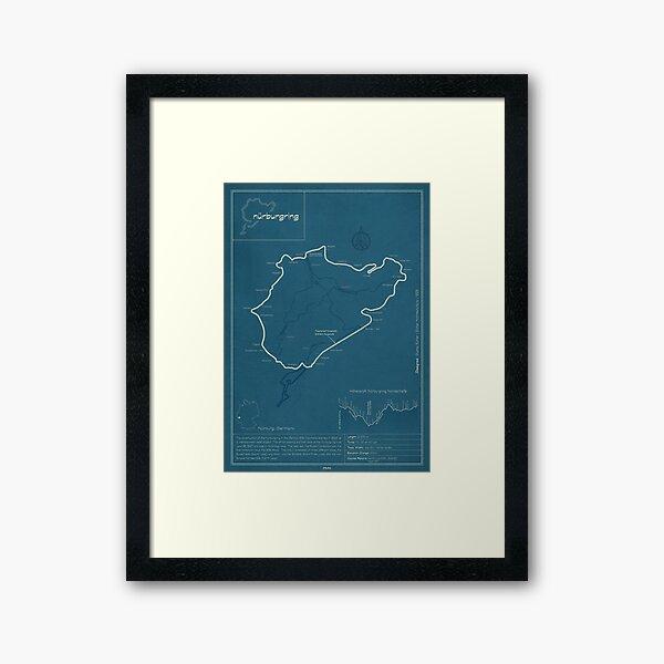 Nurburgring Nordschleife Track Map Framed Art Print