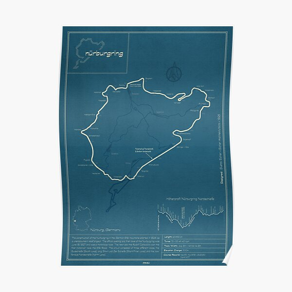 Nurburgring Nordschleife Track Map Poster