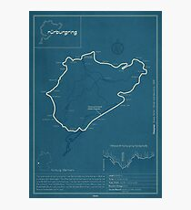 Nurburgring Nordschleife Track Map Photographic Print