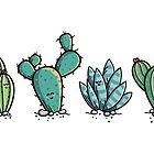 Kawaii Cute Cacti Desert Plants by Fiona Reeves