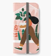 Beautiful girl with plant in pot iPhone Wallet/Case/Skin