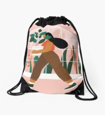 Beautiful girl with plant in pot Drawstring Bag