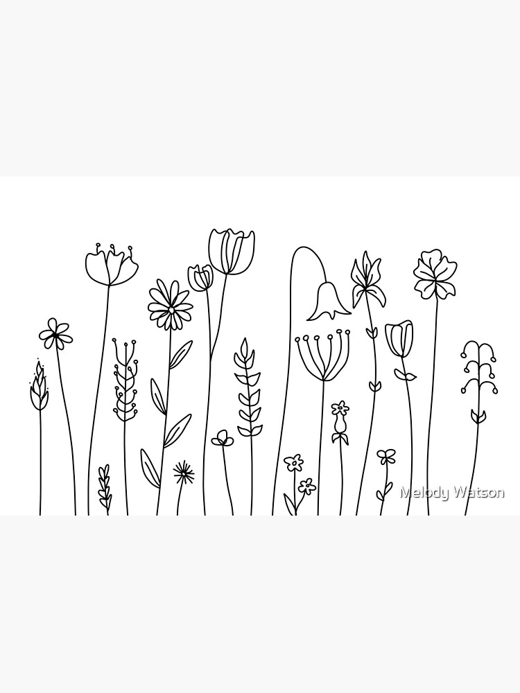 Simple Line Art Drawings Of Flowers In Black And White Laptop Skin By Odyanne Redbubble