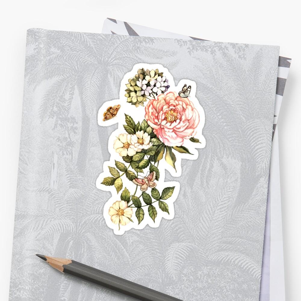 Watercolor vintage floral motifs Sticker