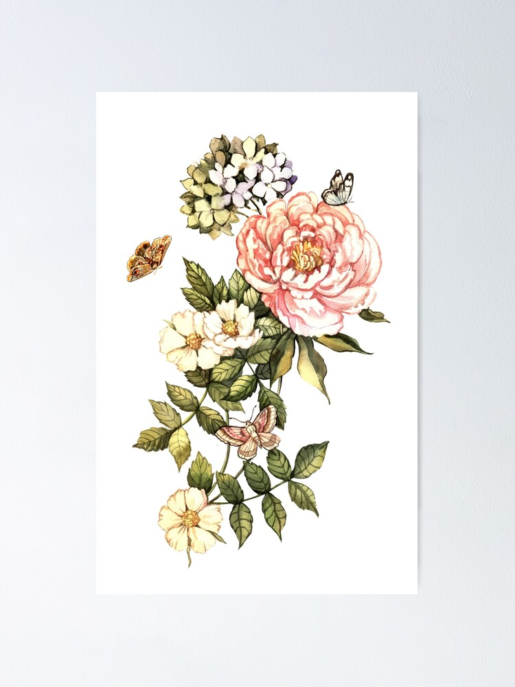 Alternate view of Watercolor vintage floral motifs Poster