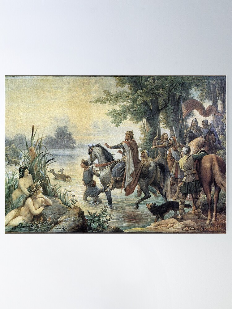 Alternate view of Charlemagne and his Franks ford the Main  Poster