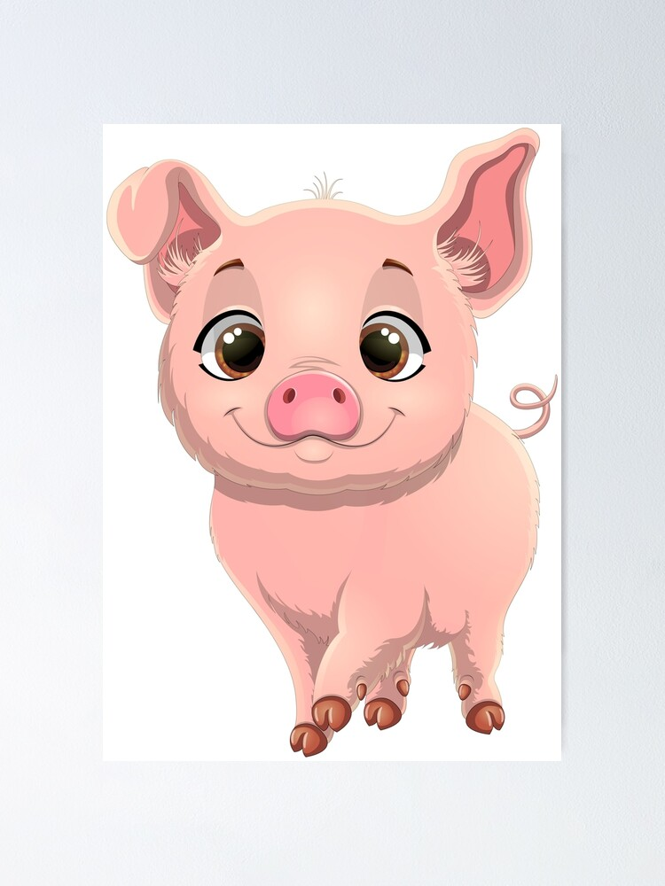 Cute Pig With Big Eyes Poster By Juliakhever Redbubble