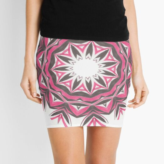 Charcoal and Red Feather Circle Fall Into Winter Design by GreenBeeMee Mini Skirt
