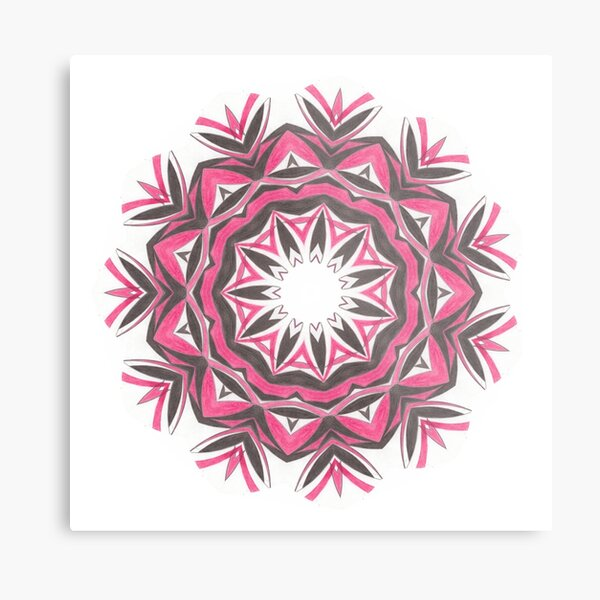 Charcoal and Red Feather Circle Fall Into Winter Design by GreenBeeMee Metal Print