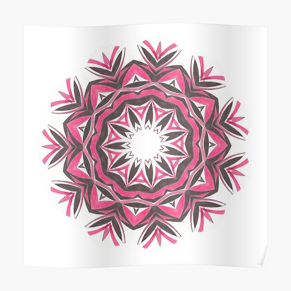 Charcoal and Red Feather Circle Fall Into Winter Design by GreenBeeMee Poster