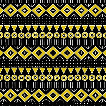 Mudcloth Style 2 in Yellow on Black by MelFischer