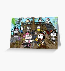 Snoopy's Pirate Family Greeting Card