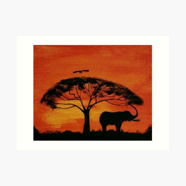 Beautiful African Sunset & Elephant  Art Print