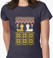 Alpaca Christmas Sweater Pattern  Women's Fitted T-Shirt