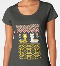 Alpaca Christmas Sweater Pattern  Women's Premium T-Shirt
