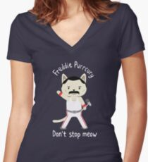Don't Stop Meow!  Cute Freddie Cat Women's Fitted V-Neck T-Shirt