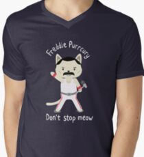 Don't Stop Meow!  Cute Freddie Cat Men's V-Neck T-Shirt