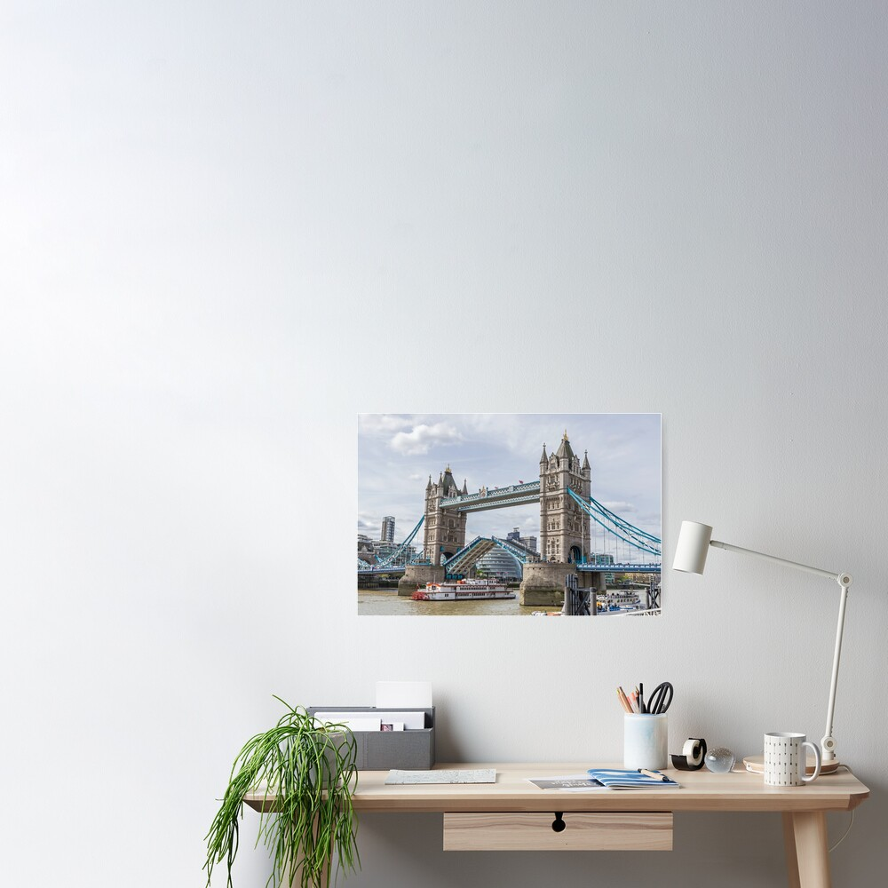 Tower Bridge lifted, London Poster