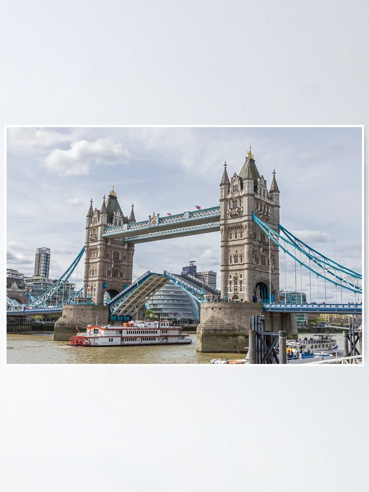 Alternate view of Tower Bridge lifted, London Poster