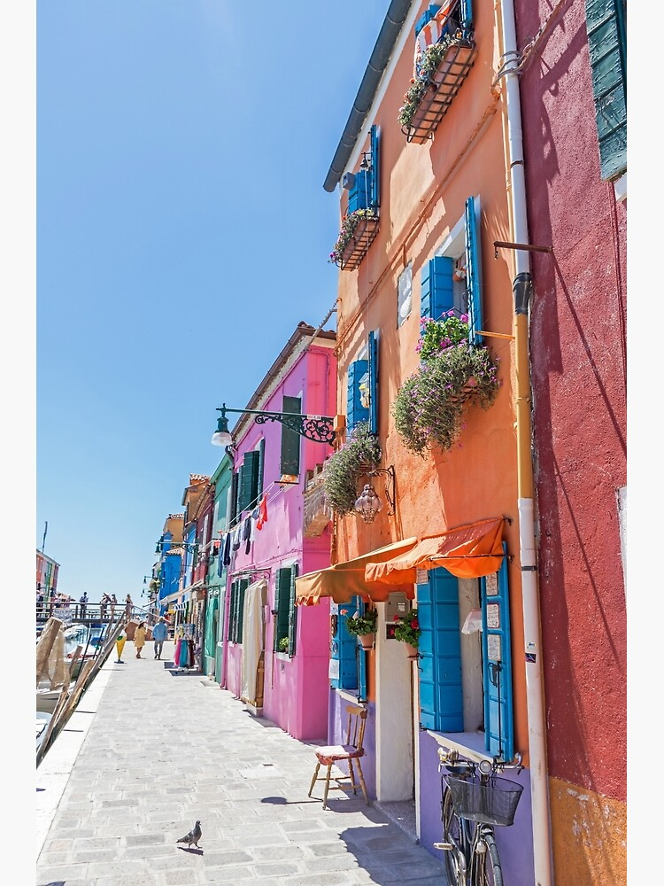 Orange, pink and blue houses in Burano, Italy by tdphotogifts