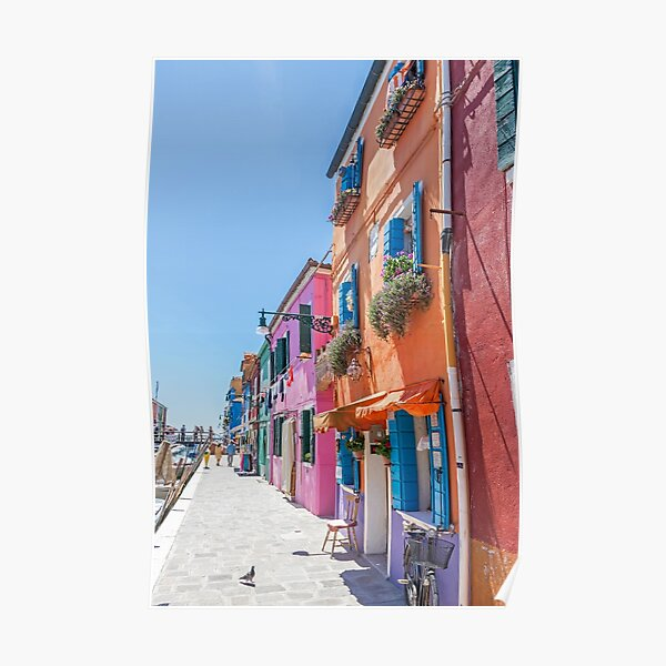 Orange, pink and blue houses in Burano, Italy Poster